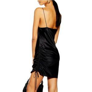 Black Mini Slip Dress with Adjustable Sides